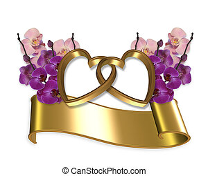 Orchids and gold hearts banner