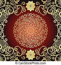 Vintage gold and dark red frame