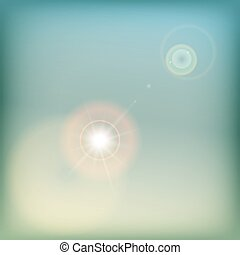 Vintage sky background with sun flare - blue and yellow.