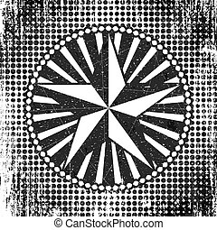 Halftone style dots background with circle frame, rays and star, black and white illustration.
