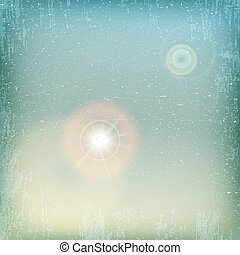 Vintage grunge sky background with sun flare - blue and yellow.