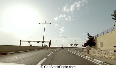 Driving on a highway in Jerusalem, Israel