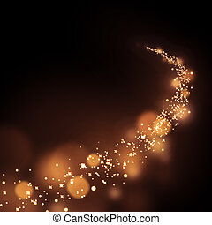 Abstract bokeh gold dust glitter star curve background