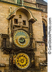 Prague Astronomical Clock - Close up of Prague ancient...