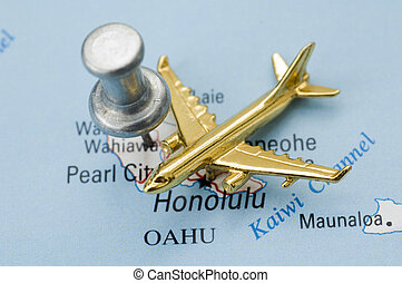 Plane and Golden Plane Over Map of Hawaii.