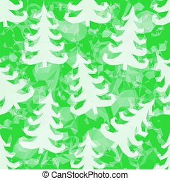 Green Pattern with Fir Trees Silhouettes, Low Poly...