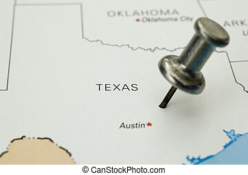 Thumbtack on Austin, Texas, Map is Copyright Free Off a...
