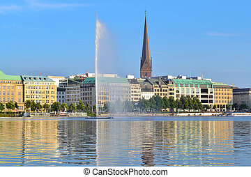 Lake Alster in Hamburg - Hamburg, Germany. A view of a very...