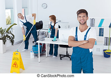 Man working for cleaning service - Image of handsome man...
