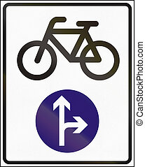 Road sign used in Hungary - Cyclists go straight or right ahead