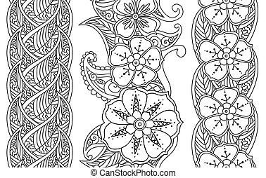 Set of vertical seamless pattern floral borders isolated on...