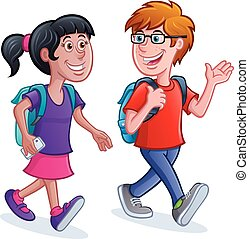 School Kids Walking with Backpacks - Cartoon of a girl and...