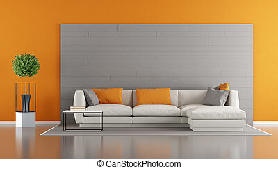 Gray and orange modern living room with sofa and gray...