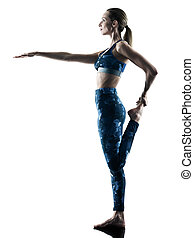 woman fitness pilates excercises silhouette