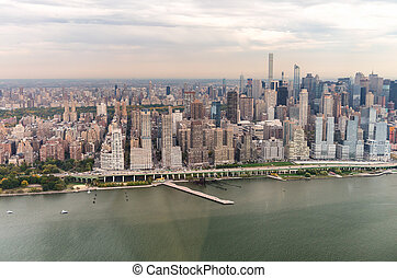 New York from the sky. Manhattan West Side.
