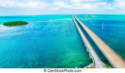 Overseas Highway aerial view on a beautiful sunny day,...