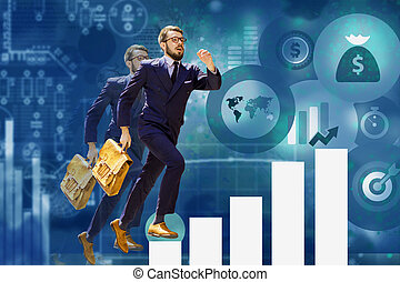 young businessman jumping over steps of chart or graph -...