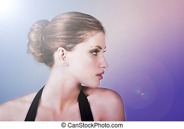 Profile of a Beautiful Young Woman - Side view of attractive...