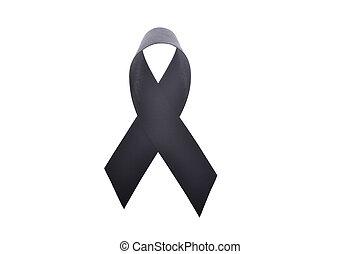 Black ribbon,melanoma awareness or symbol mourning isolate...