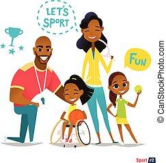 Palla, illustrazione, famiglia, medico, giovane, riabilitazione, handicappato,  sportsmen's, istruire, vettore, ritratto, possedere, sedie rotelle, sport, gioco, concetto, divertimento, capretto