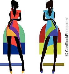 Fashion bright women silhouettes isolated