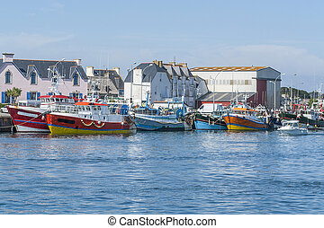 Guilvinec in Brittany - harbor scenery at Le Guilvinec, a...