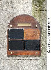 wooden doorplate - old wooden doorplate seen in Brittany,...