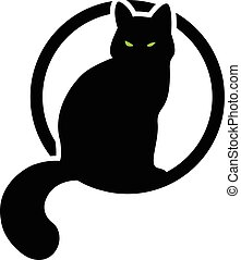 black cat in the circle. vector illustration