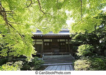 Japanese temple in garden