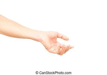Man arm with blood veins praying on white background