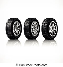 Three rubber wheels on white - Three different car black new...