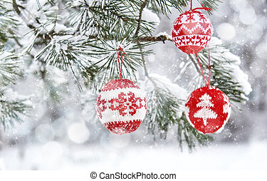 Christmas tree branch with baubles - Merry Christmas and...
