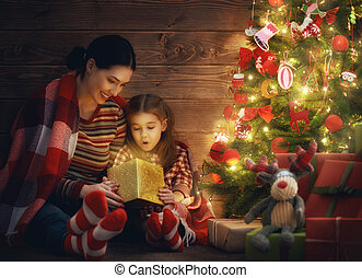 family with magic gift box