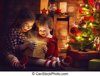 sisters with magic box - Merry Christmas and Happy Holiday!...