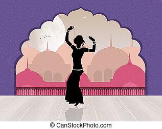 Oriental belly dance - illustration of Oriental belly dance