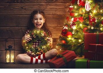 décorer, arbre, noël,  girl