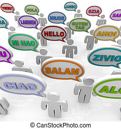Greetings from Around the World - Speech Bubbles - Many...