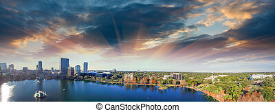 Orlando aerial view, skyline and Lake Eola at dusk.