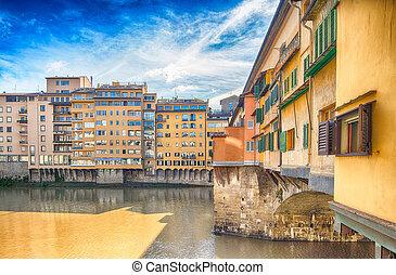 Old Bridge of Florence, Ponte Vecchio tourist attraction.