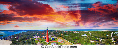 Florida Lighthouse, Ponce de Leon aerial view.