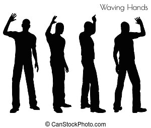 man in Waving Hands pose on white background