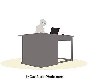 Un, empresa / negocio, mujer, Sentado, en, Un, escritorio