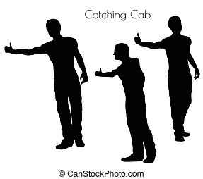 man in Action Catching Cab pose - EPS 10 vector illustration...
