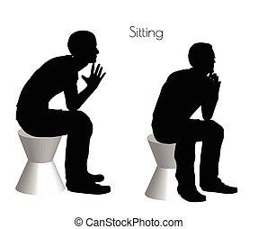 hombre, en, Sentado, postura, en, blanco, Plano de fondo