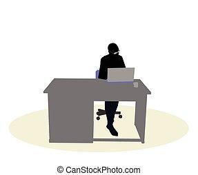 escritorio, mujer, empresa / negocio, Sentado