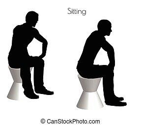 hombre, blanco, postura, Plano de fondo, Sentado