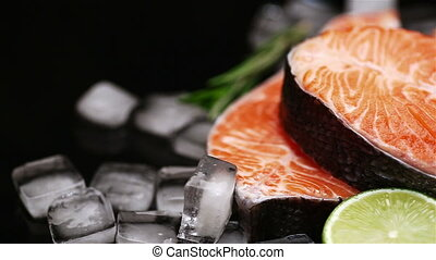 Fresh Raw Salmon Red Fish Steak isolated on ice