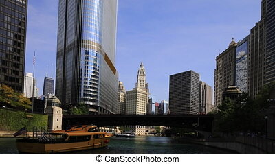 View of the Chicago Riverwalk on a beautiful day - A View of...