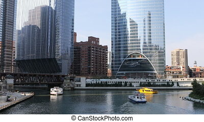 View of the Riverwalk in Chicago, Illinois - A View of the...