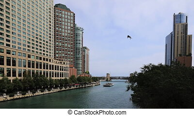Striking view of the Chicago Riverwalk on a beautiful day -...